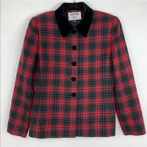 KASPER holiday plaid blazer